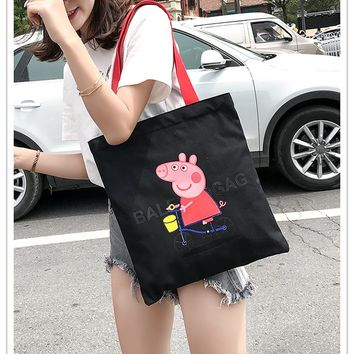 Women's  pigpepe canvas bag female messenger bag ins cloth bag  003