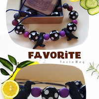Black and purple necklace, Spotted necklace , Black polkadot , Bubblegum necklace