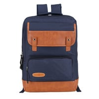 Unisex Canvas Leather College Backpack Daypack Laptop Bag Travel Bookbag