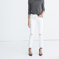 Cali Demi-Boot Jeans in Pure White: Distressed Edition