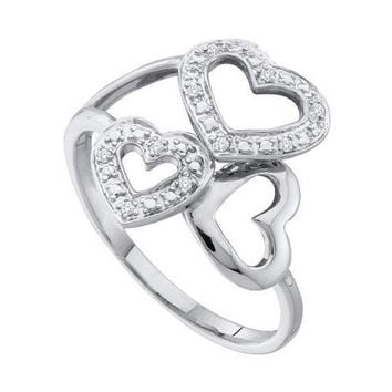 10KT White Gold 0.03CTW ROUND DIAMOND LADIES 3 HEART CLUSTER RING