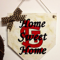 Home sweet home baseball home plate sign with stl, dirt look, and chevron bow