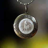 Brilliant Unicorn Cameo Locket Pendant Necklace Top Quality can open