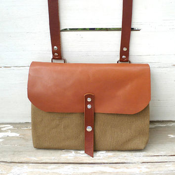 Light Brown Mini Canvas Messenger Bag - Red Leather Single Strap Shoulder bag / Messenger Bag / Diaper Bag