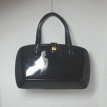 1950s Vintage Black Patent Leather Betty Bag Purse by Prestige, 12.5 x 8 In., Bottom Feet, Inside Zipper, Vintage Purse, Mid Century Purse
