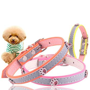 Pets Dog Collars PU Leather Solid Color Small Size Collar Necklace Cute Dog Cat Chihuahua Use Adjustable Pets Supplier