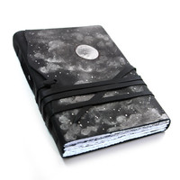 Journal in Black and White, Leather Journal - Handmade Diary - Night Sky, Handbound Journal - Moonlight