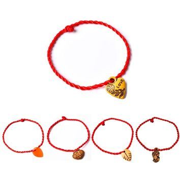 SALE 1PC Women Girls Chinese Knot Heart Leaf Rope Chain Lucky Charm Decent Red Rope Bracelets Animal Pandant Jewelry Gift
