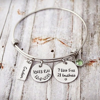 Charm Bracelet - Wire Bangle - Mother Bracelet - Personalized - New Mom Gift - Custom - Grandmother  - Weight - Length - Time - Date