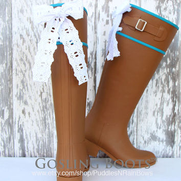 Custom Tan Riding Rain Boots with White Eyelet Bows