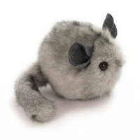 Light Grey Chinchilla Stuffed Animal Plush Toy - 4x5 Inches Small Size