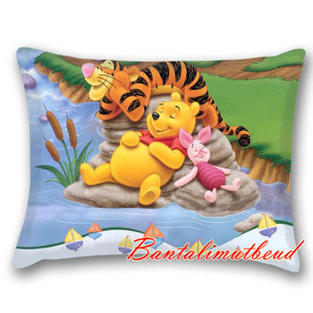 Winnie The Pooh disney custom pillow cases two side,rectangle pillow,Square Pillow Cases,pillow size16*24,18*18,20*26,20*30,20*36