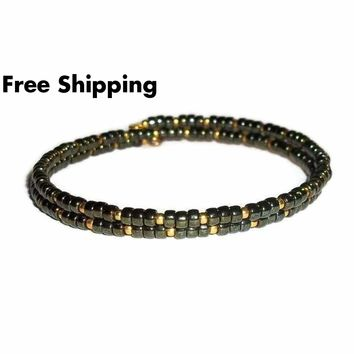 Deep Green & Gold Glass Artisan Crafted Stackable Wrap Bracelet (S-M)