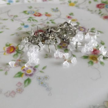 50 Earring posts with stoppers 12 x 6mm silver tone 25 pairs of earring posts