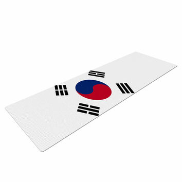 "Bruce Stanfield ""Flag of Korea"" White Digital Yoga Mat"
