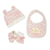 Baby 3Pc Leopard Print Bib, Bootie And Hat Set by Juicy Couture