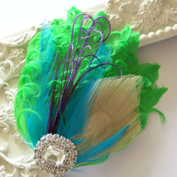 Bridesmaids Hairpiece, Feather Fascinator, Wedding Hairpiece,Lime Green ,Turquoise Aqua, Purple, Gatsby Hairclip, 1920s Hairpiece
