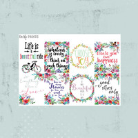 Inspirational planner stickers, motivational planner stickers, flower stickers, adulting planner stickers (#0210)