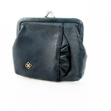Deep Navy Blue Change Purse Signed Genuine Leather Gimble Accessories With Decorative Scalloped Pleat Trim Vintage Collectible Item 2330