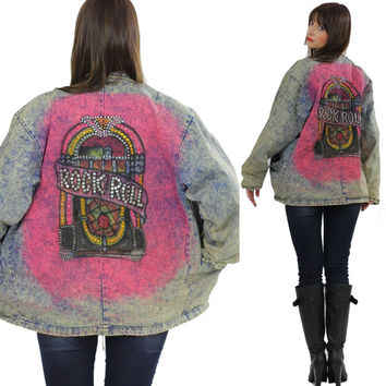 Boho denim jacket Painted acid wash denim jacket Jukebox Studded jacket Rock N Roll jacket acid wash Hippie jacket 80s art jacket  size L