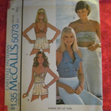Sale UnCut 1970's McCall's Sewing Pattern, 5073! Size 8 Women's Small, Crop Tops, Halter Tops, Summer and Spring Shirts, Casual Sun Shirts