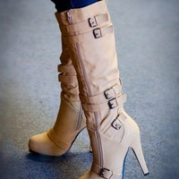 Bumper Oak-12X Buckle Knee High Boot (Honey Mustard) - Shoes 4 U Las Vegas