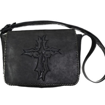 Dark 8 Leather and Stingray Cross Bag