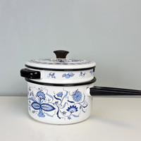 Vintage Double Boiler Enamelware Pot White Blue Floral Black Handles, Cobalt Blue and White Decor, French Farmhouse Kitchen, Cottage Chic