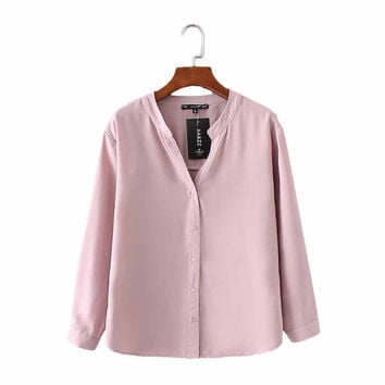 Women basic V-neck solid chiffon blouse long sleeve buttons white pink shirts office lady elegant work wear brand tops LT1452
