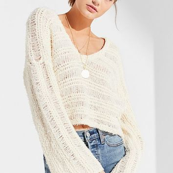UO Tahiti Bell-Sleeve Fringe Sweater | Urban Outfitters