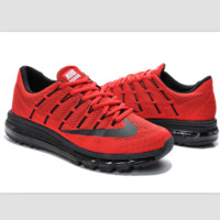 """""""NIKE"""" Trending Fashion Casual Sports Shoes AirMax Toe Cap hook section knited Red black hook"""
