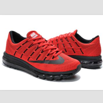 """NIKE"" Trending Fashion Casual Sports Shoes AirMax Toe Cap hook section knited Red black hook"