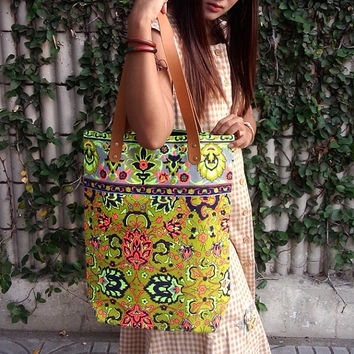 Paint bag, Colorful Neon Printed, Tribal bag, Vivid Yellow violet, Tote bag, Canvas, Hobo, Hipie bag, Weekender bag, Beach bag, Boho Bag