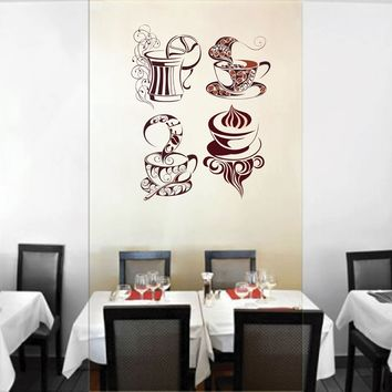 cik139 Full Color Wall decal coffee tea cup sweet restaurant cafe