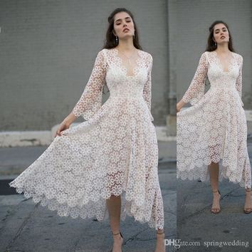White Tea Length Lace Cocktail Homecoming Dresses A Line V Neck Long Sleeve Short Party Gowns Cheap 2718