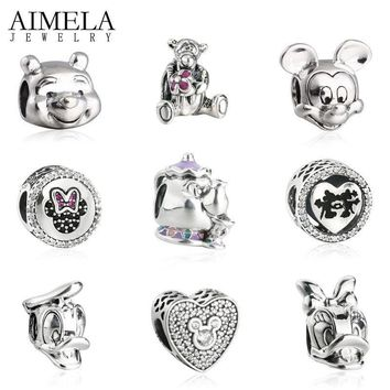 AIMELA Fairy Tale Mrs. Potts & Chip Minnie Mickey Charm Fits Pandora DIY Bracelets 925