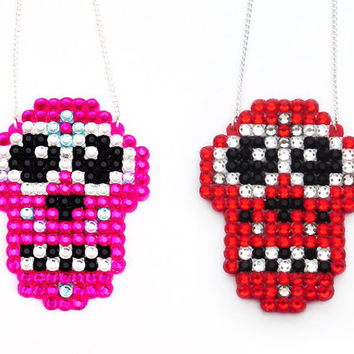 Sparkly Sugar Skull Calavera Necklace - Dia De Los Muertos Pink Red or Your Custom Crystal Colours - Psychobilly Rockabilly Spooky Jewellery