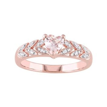 Rose Gold Tone Sterling Silver Morganite & Diamond Accent Heart Leaf Ring | null