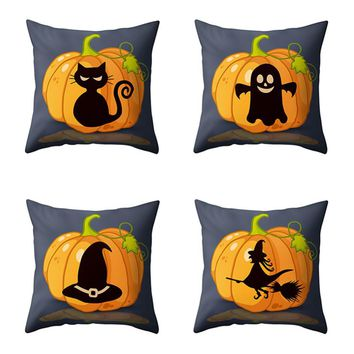 45*45cm Halloween Pumpkin Witch Ghosts Black Cat Printed Throw Pillow Cases Cotton Linen Home Decor Cushion Cover