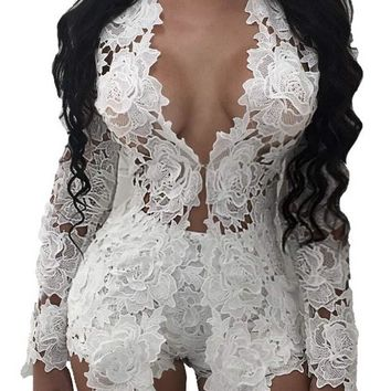 Women 2 Piece Set Lace Embroidery Rompers Playsuit
