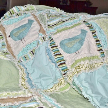 Rag Quilt, Baby Blanket, Crib bedding, Bird Applique, Green, Blue, MADE TO ORDER