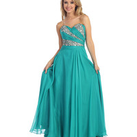 2013 Prom Dresses -Jade Chiffon & Beaded Strapless Prom Dress - Unique Vintage - Prom dresses, retro dresses, retro swimsuits.