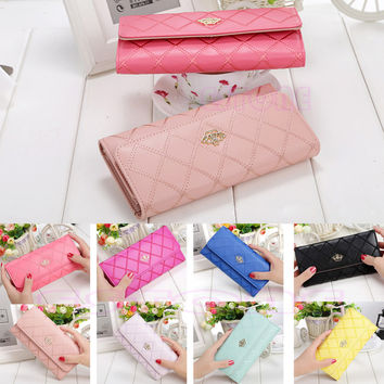 HOT New Coming Fashion Lady Womens Long Check Purse Clutch Crown
