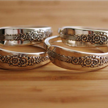 Napkin Rings Recycled Silverware Oneida Nobility Royal Rose Spoon Napkin Rings Rustic Table Decor Elegant Set of Four by Hendywood