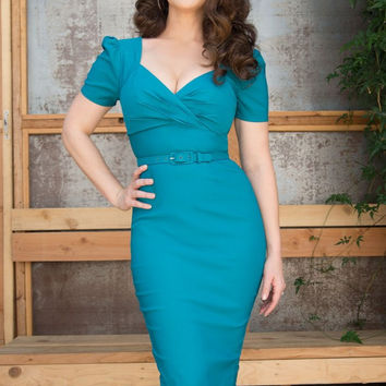Pinup Couture Erin Wiggle Dress in Short Sleeves in Jade