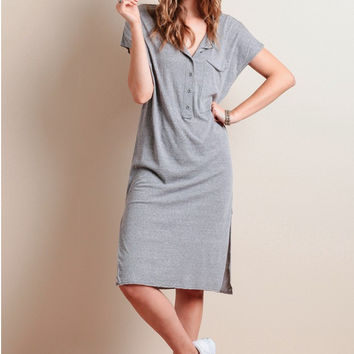 Grey V-Neck Short Sleeve Shift Midi Dress