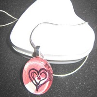 Geniune Ruby, Heart Pendant, Glass Tile Pendant, Oval, Watercolor, Heart, Red, Necklace, OOAK