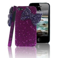 Mavis's Diary New 3D Handmade Bling Big Deep Purple Bow Back Case Cover Hard Purple for Iphone 4 4S with Soft Clean Cloth