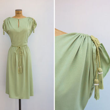 1970s Dress - Vintage 70s Green Dress - Artemis Dress