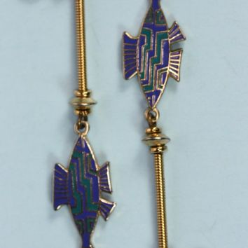 Vintage Fish Earrings Laurel Burch Blue Green Enameled